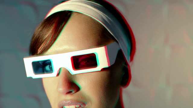 Woman in 3-D glasses