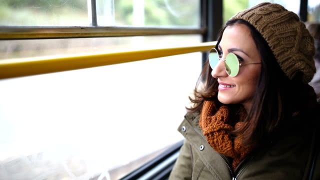 woman in a bus - passenger stock videos & royalty-free footage