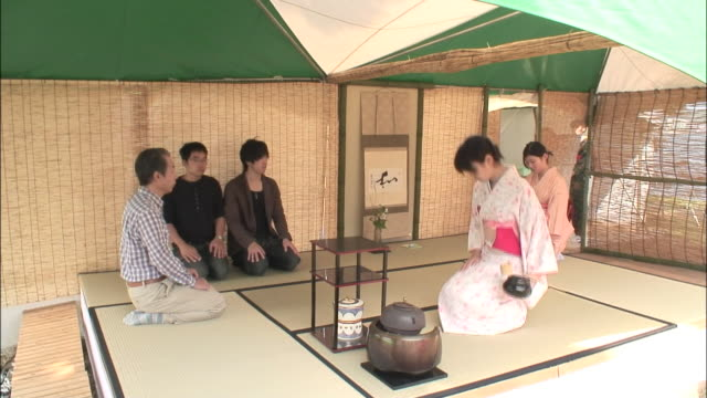a woman in a kimono kneels in a tea room during a tea ceremony. - tea ceremony stock videos and b-roll footage