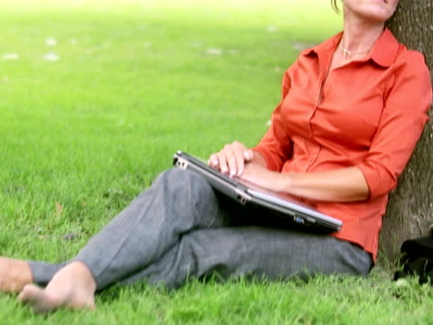 a woman in a park using a laptop sweden. - only mature women stock videos & royalty-free footage