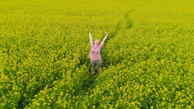 a woman in a rapeseed field - arme hoch stock-videos und b-roll-filmmaterial