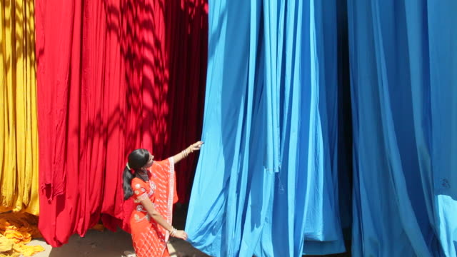 A woman in a sari checks the quality of freshly dyed fabric hanging to dry at a sari garment factory in Rajasthan, India.