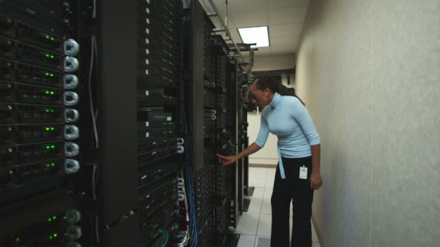 woman in a server room