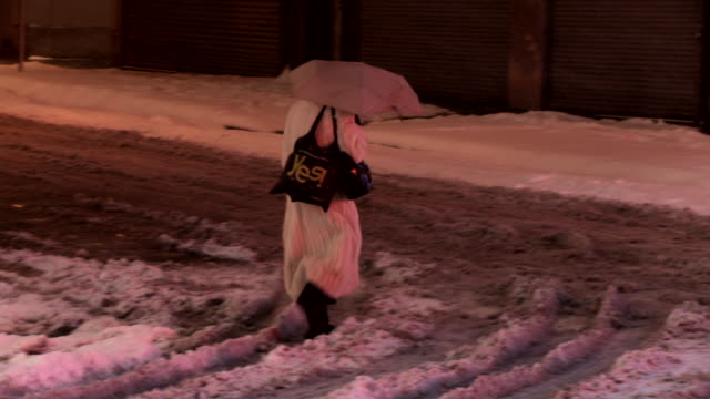 A woman in a white fur coat cross the street in a snow storm.