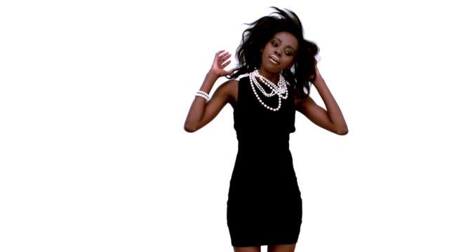 woman in black dress dancing - black dress stock videos & royalty-free footage