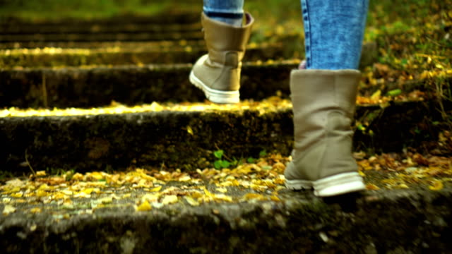 woman in boots climbs the stairs - field trip stock videos & royalty-free footage