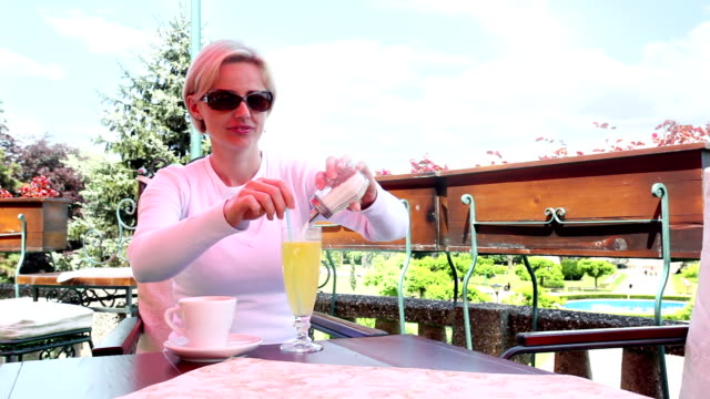 woman in cafe - lemonade stock videos and b-roll footage