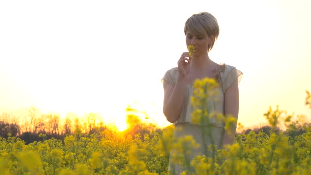 HD SLOW-MOTION: Woman In Canola Field