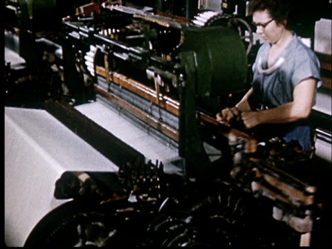 ms, woman in cotton mill standing at power loom - loom stock videos & royalty-free footage