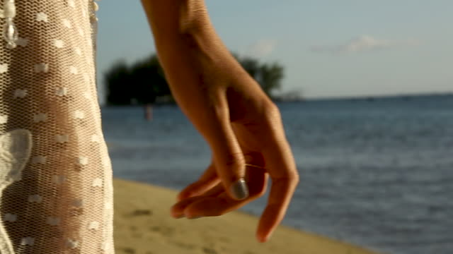 woman in crochet tunic on tahiti beach at sunset, close up - tahiti stock videos & royalty-free footage