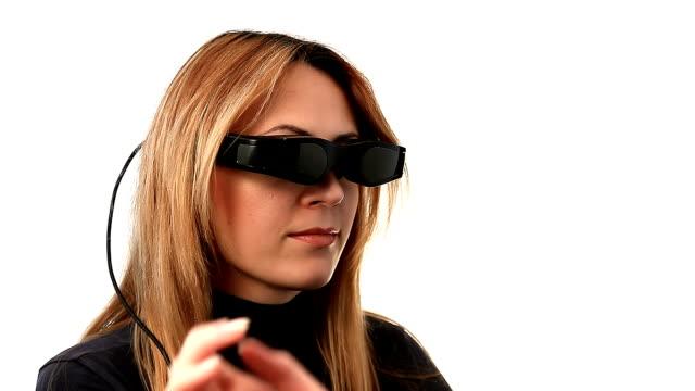 Woman in cyberspace with video eyewear