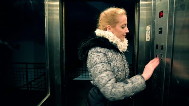Woman in elevator