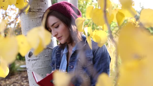vídeos y material grabado en eventos de stock de woman in fall aspen trees writing in diary - gorro de lana