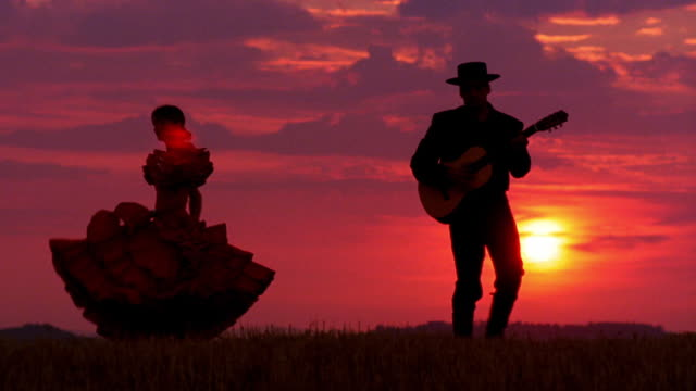 woman in flamenco dress dancing next to man in hat playing guitar on plain at sunset / spain - flamenco dancing stock videos and b-roll footage