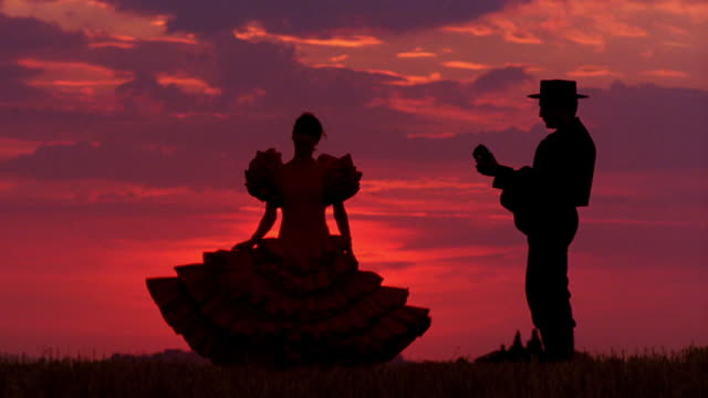 Woman in flamenco dress spinning next to man in hat playing guitar on plain at sunset / Spain