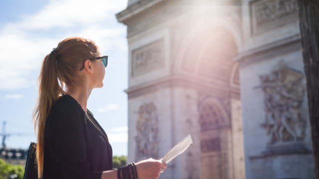 Woman in front of famous monument Arc de Triomphe looking at map of Paris