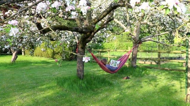woman in hammock in english garden reading. - ミュンヘン エングリッシャーガルテン点の映像素材/bロール