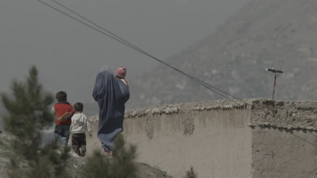 woman in hijab, with her three children - kabul stock videos & royalty-free footage
