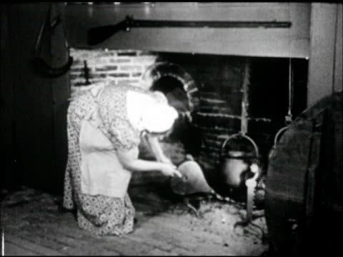 woman in period clothing long dress using bellows on fire below hanging pot in hearth, rifle hanging above fireplace. bellows blowing on cinders. - kolonialstil stock-videos und b-roll-filmmaterial