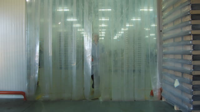 WS Woman in protective clothing walking through plastic curtain separating refrigerated area from non-refrigerated area / Algarrobo, Malaga, Spain