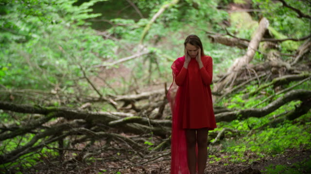 woman in red dress in ancient forest - red dress stock videos & royalty-free footage