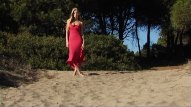 vidéos et rushes de woman in red dress on beach in front of trees - robe rouge