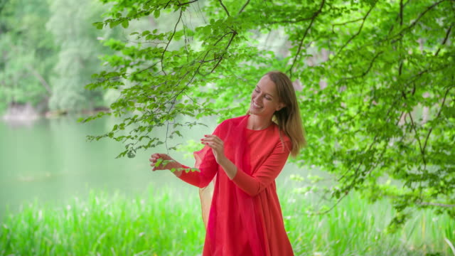 woman in red dress standing in forest - red dress stock videos & royalty-free footage