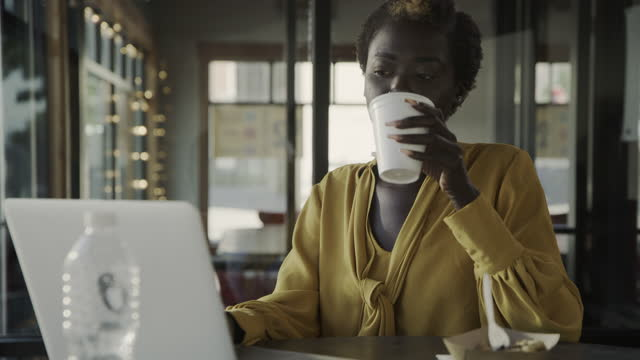 vidéos et rushes de woman in restaurant typing on laptop during working lunch / pleasant grove, utah, united states - tasse