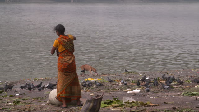 woman in saffron sari in the banks of hooghly river with people passing by - hooghly river stock videos & royalty-free footage