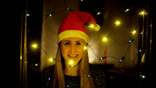 woman in santa claus costume - santa hat stock videos and b-roll footage