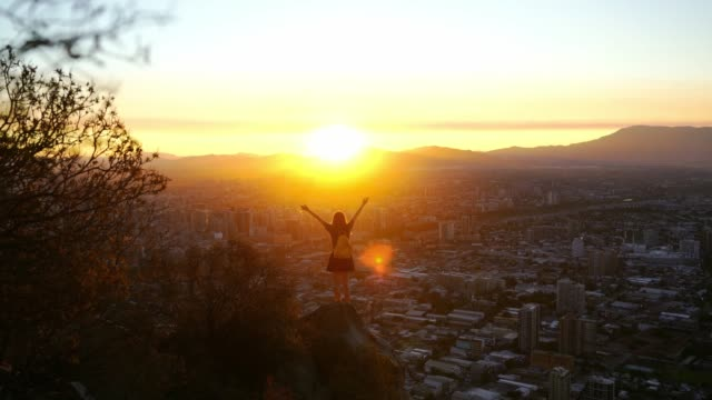 woman in santiago at sunset - skirt stock videos & royalty-free footage