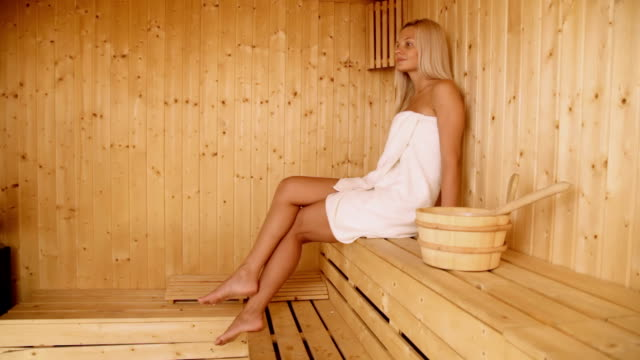 woman in sauna - sauna stock videos and b-roll footage