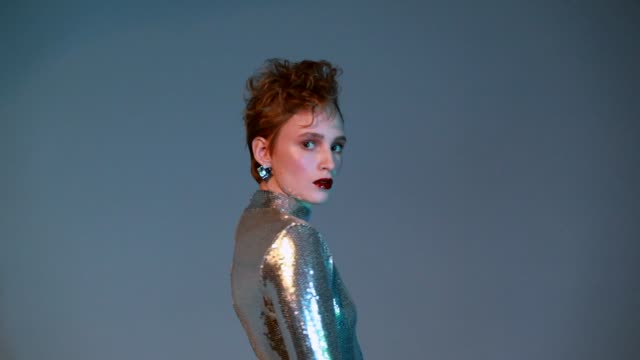 woman in sequin top - fashion stock videos & royalty-free footage
