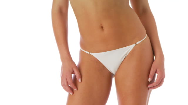 Woman in sexy white underwear