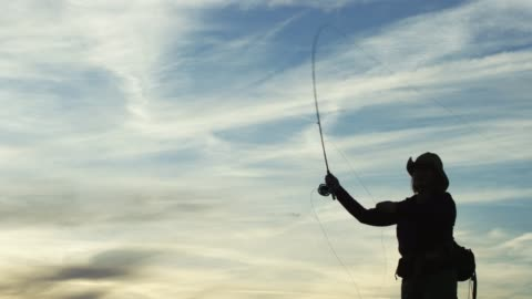 vídeos de stock, filmes e b-roll de uma mulher na mosca da silhueta pesca no por do sol um céu em parte nebuloso - caniço