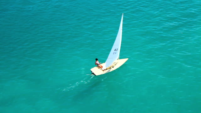 woman in small sailboat - adriatic sea stock videos & royalty-free footage
