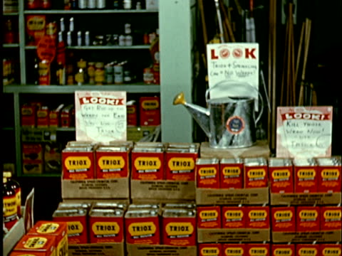 1965 ms woman in store walking by product display of cans of triox pesticide/ sign with text saying look over watering can/ woman stopping to look  - watering can stock videos & royalty-free footage