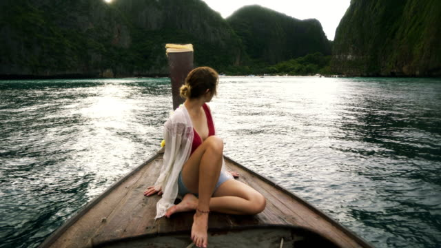 woman in thai taxi boat - thailand stock videos and b-roll footage