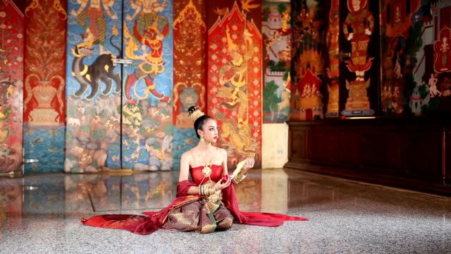 thai woman in thai traditional dress - ayuthaya province stock videos and b-roll footage