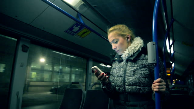 Woman in the bus.