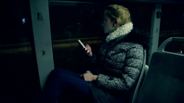 woman in the bus. - vehicle interior stock videos & royalty-free footage