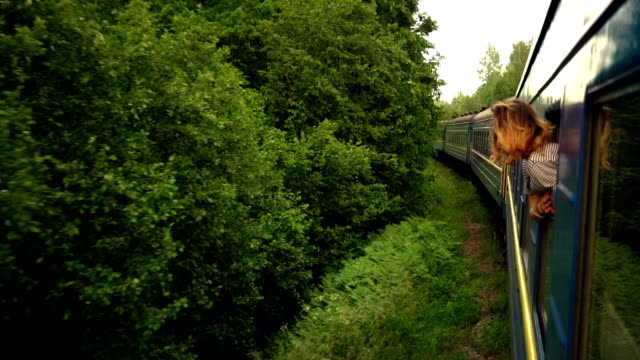 stockvideo's en b-roll-footage met vrouw in de trein - travel destinations