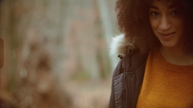 woman in the woods during warm color fall - afro stock videos & royalty-free footage