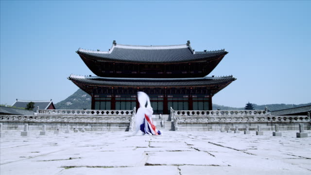 ws zo woman in traditional dress performing buddhist dance behind gyeongbokgung palace / seoul, south korea  - human limb stock videos & royalty-free footage