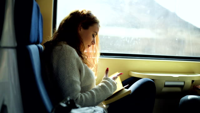 woman in train reading book - reading stock videos & royalty-free footage