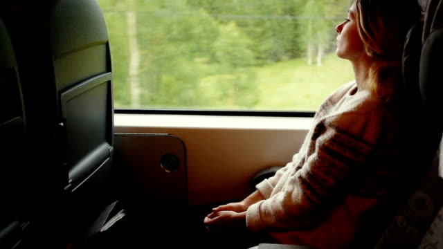 stockvideo's en b-roll-footage met vrouw in de trein - train vehicle