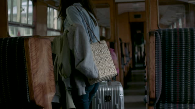 woman in train - suitcase stock videos & royalty-free footage