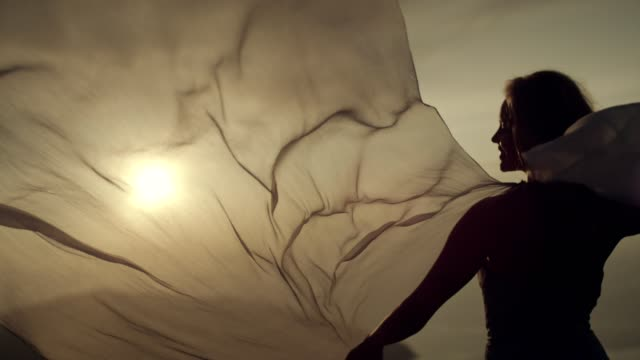 woman in transparent silk dress gently posing. - trasparenza video stock e b–roll