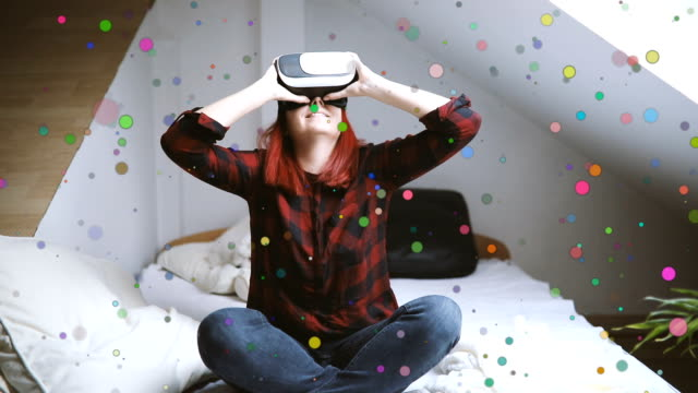 woman in virtual reality helmet on bed. vr glasses. - relief emotion stock videos and b-roll footage
