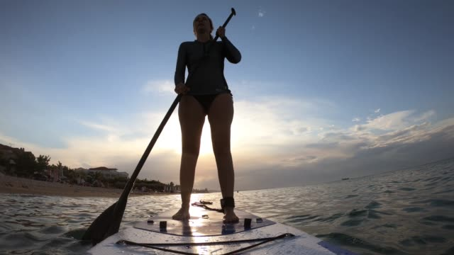 woman in wetsuit with a paddle board - wetsuit stock videos & royalty-free footage
